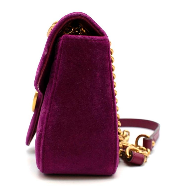 Women's Gucci Purple Velvet Marmont Quilted Shoulder Bag 26cm For Sale