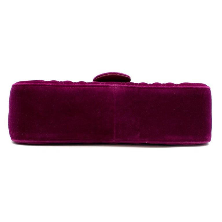 Gucci Purple Velvet Marmont Quilted Shoulder Bag 26cm For Sale 1