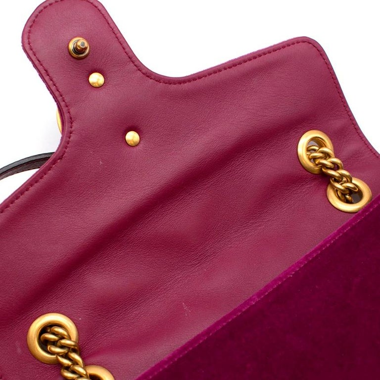 Gucci Purple Velvet Marmont Quilted Shoulder Bag 26cm For Sale 2