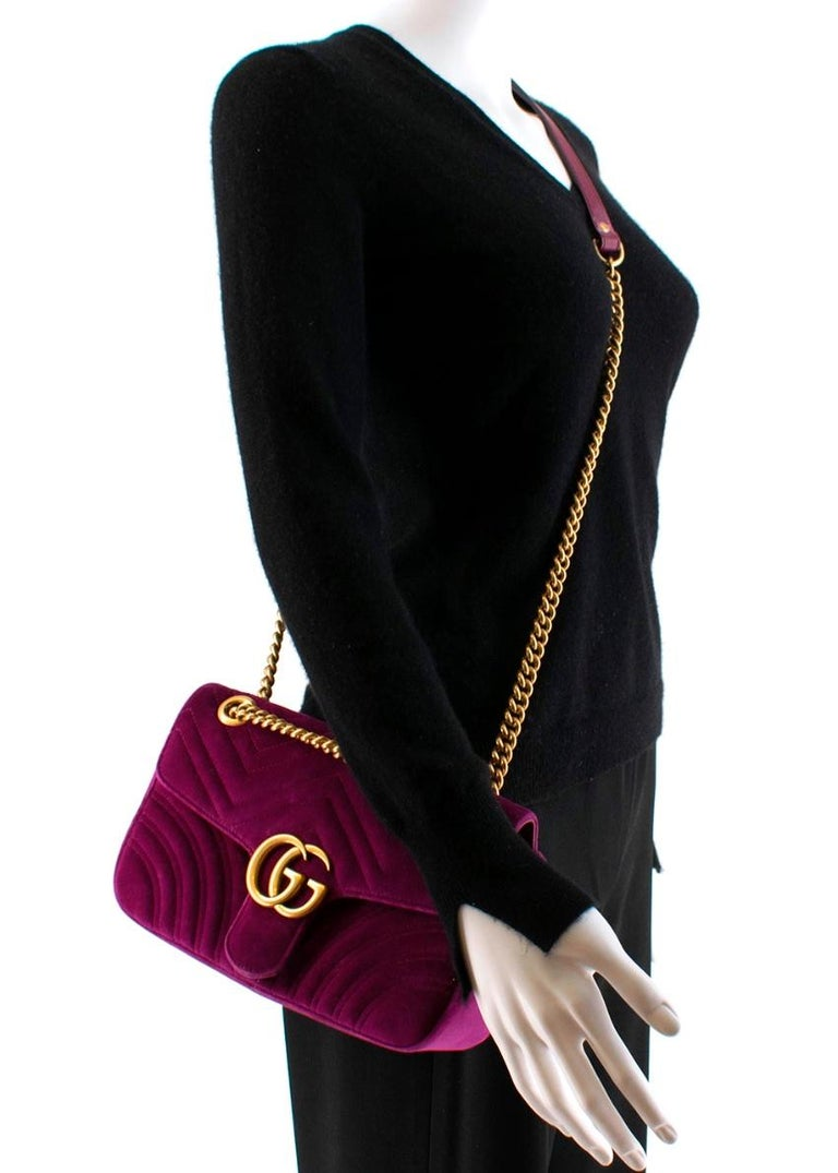 Gucci Purple Velvet Marmont Quilted Shoulder Bag 26cm For Sale 4