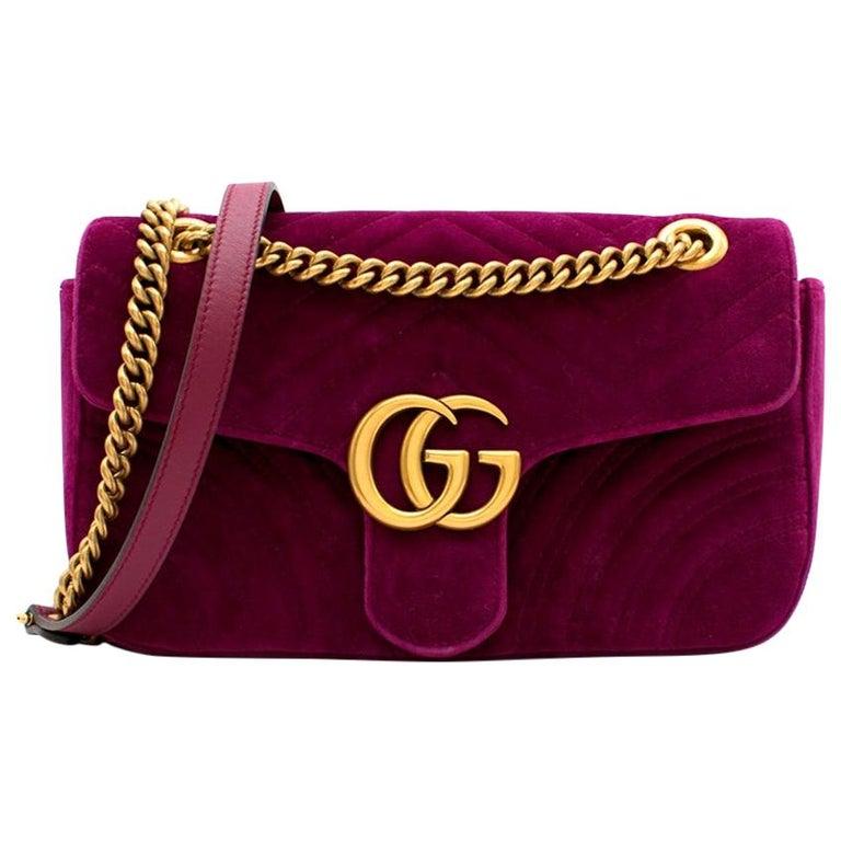 Gucci Purple Velvet Marmont Quilted Shoulder Bag 26cm For Sale