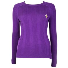 GUCCI purple wool RIB KNIT Crewneck Sweater S