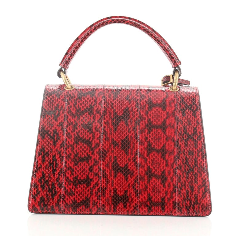 Brown Gucci Queen Margaret Top Handle Bag Snakeskin Small  For Sale