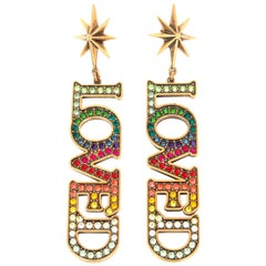 GUCCI RAINBOW CRYSTAL LOVED Drop Earrings