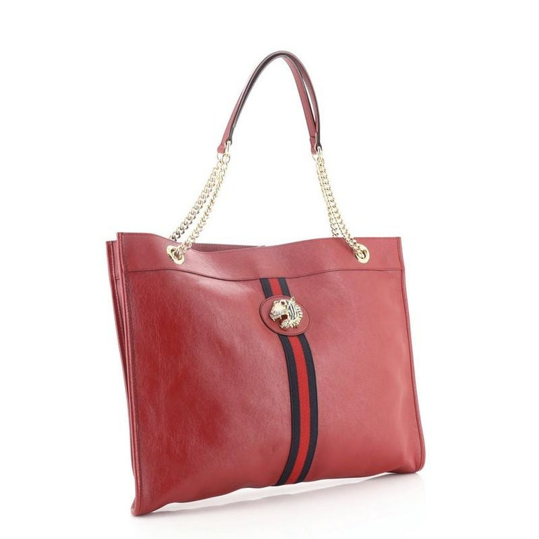 Pink Gucci Rajah Chain Tote Leather Large For Sale