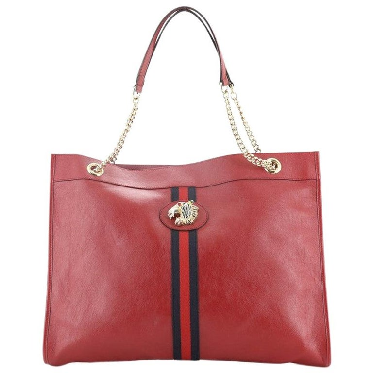 Gucci Rajah Chain Tote Leather Large For Sale