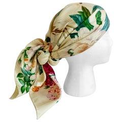 Gucci Rare 1980s Botanical Motif Silk Scarf