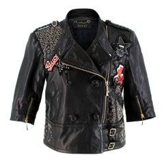 Gucci Rare Black Eyelet & Patch Embellished Leather Jacket.