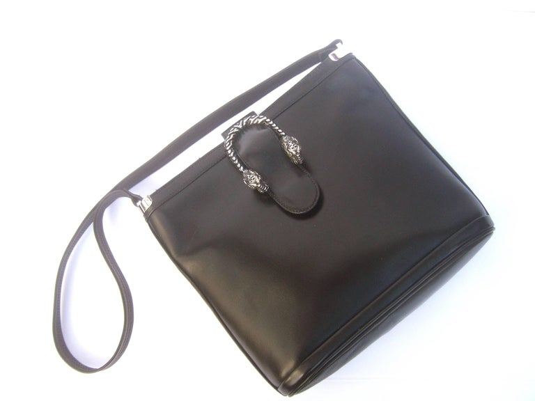 6ba26d604769 Gucci Extremely rare sterling silver tiger clasp ebony leather handbag c  1970s The luxurious Italian shoulder