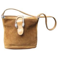 Gucci Rare Sterling Silver Tiger Emblem Suede Shoulder Bag c 1970s