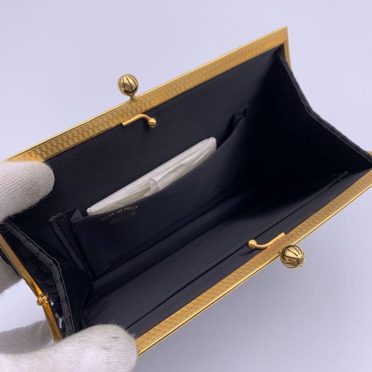 Gucci Rare Vintage Black Satin Evening Bag Clutch Handbag For Sale 2