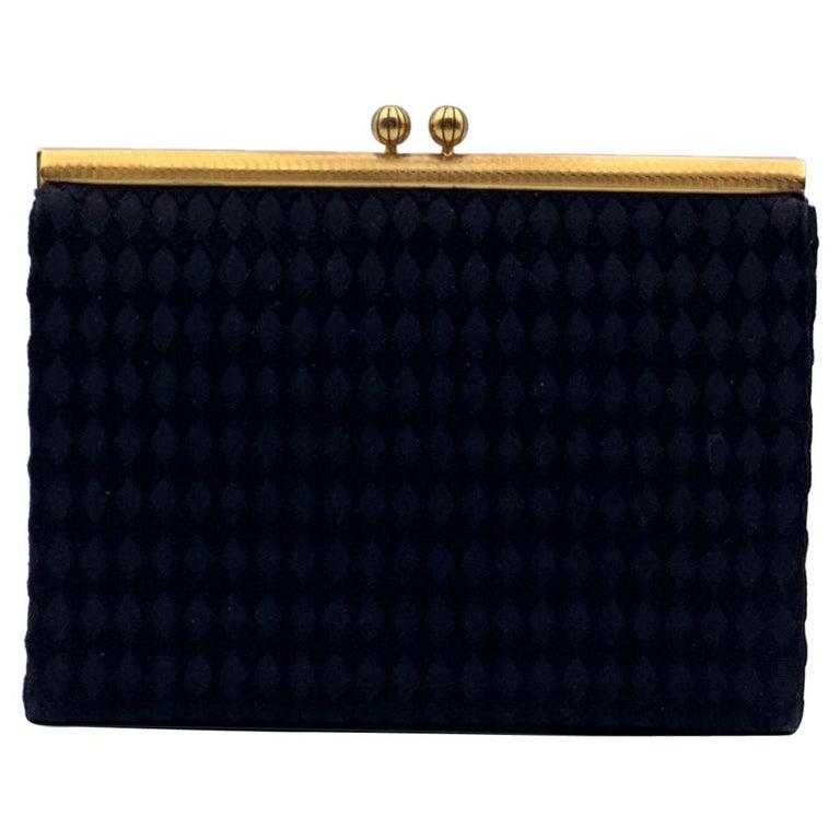 Gucci Rare Vintage Black Satin Evening Bag Clutch Handbag For Sale