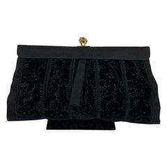 Gucci Rare Vintage Black Velvet Satin Evening Bag Clutch Handbag