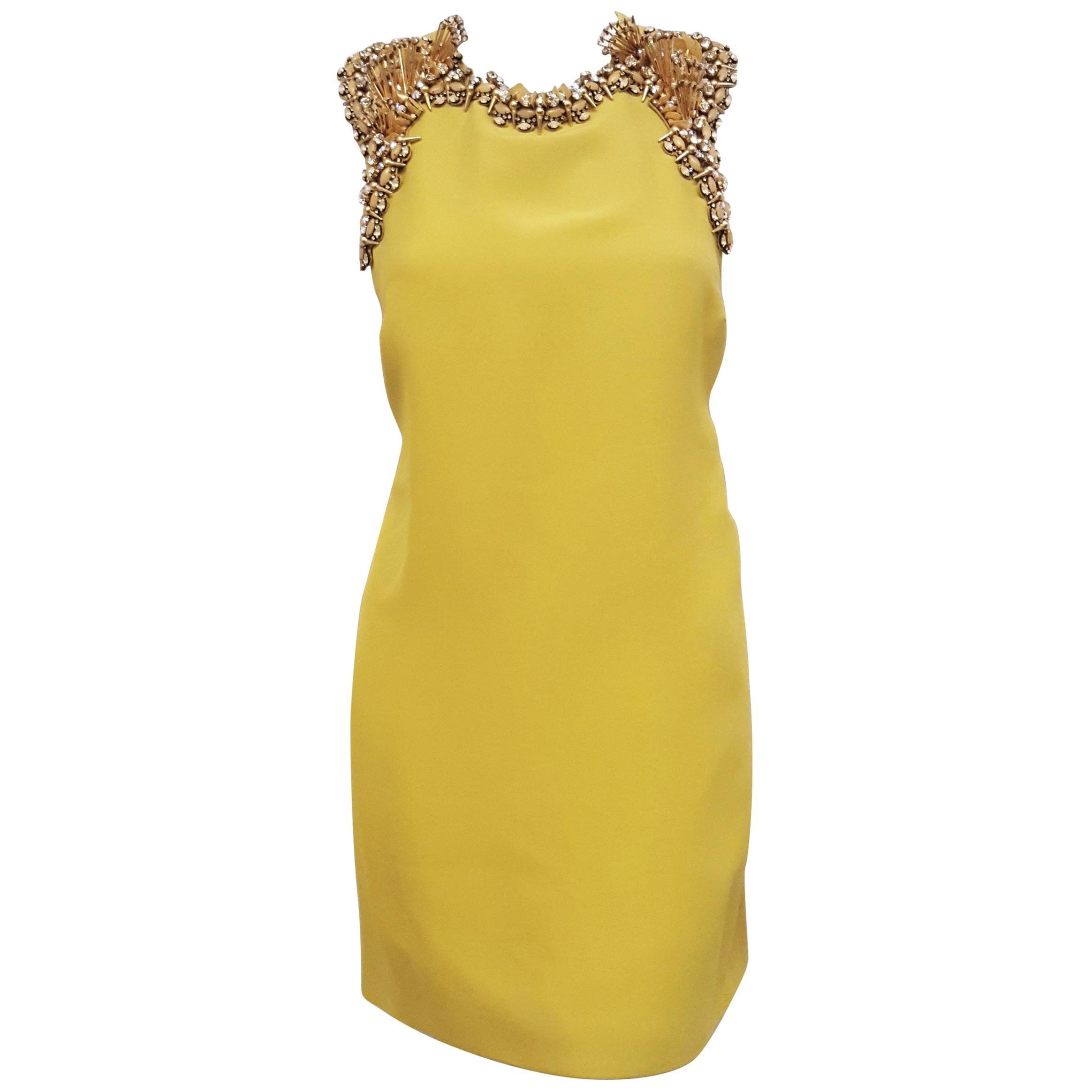 Gucci Razorback A-Line Chartreuse Silk Beaded Accent Dress 44 EU