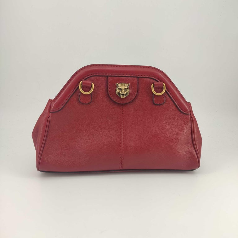 Brown GUCCI Rebelle Shoulder bag in Red Leather For Sale