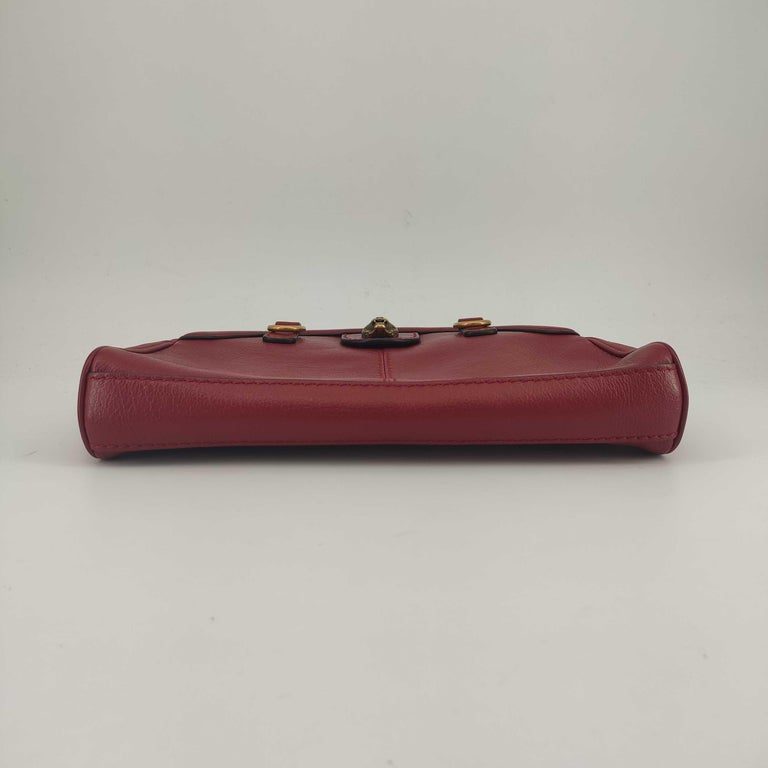 GUCCI Rebelle Shoulder bag in Red Leather In Excellent Condition For Sale In Clichy, FR