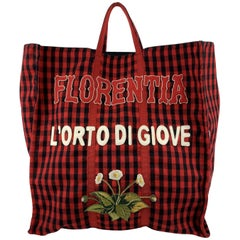 Gucci Red and Black Checkered Florentia Large Tote Bag Never Used