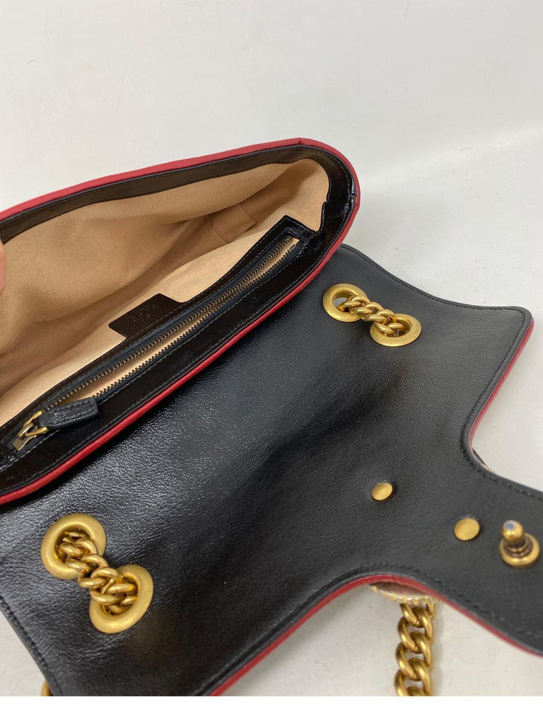 Gucci Red and Black Marmont Bag  For Sale 13