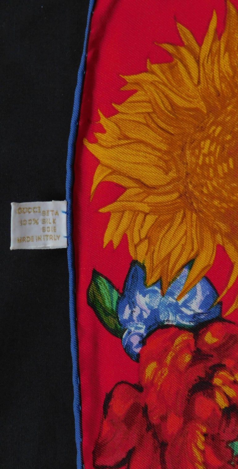 Gucci Red and Blue Scarf with Flowerpots and Van Gogh-esque Sunflowers, 1990  In Good Condition For Sale In Antwerp, BE