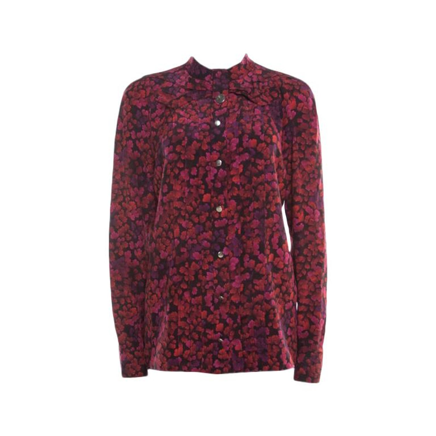 a9940d56639a Gucci Red and Purple Floral Printed Silk Neck Bow Detail Long Sleeve Blouse  M For Sale at 1stdibs