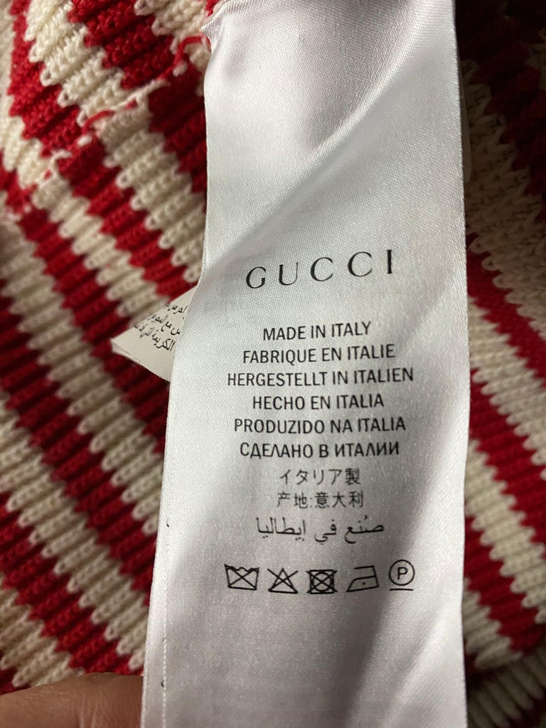 Gucci Red and White Wool Knit Sweater Top For Sale 5