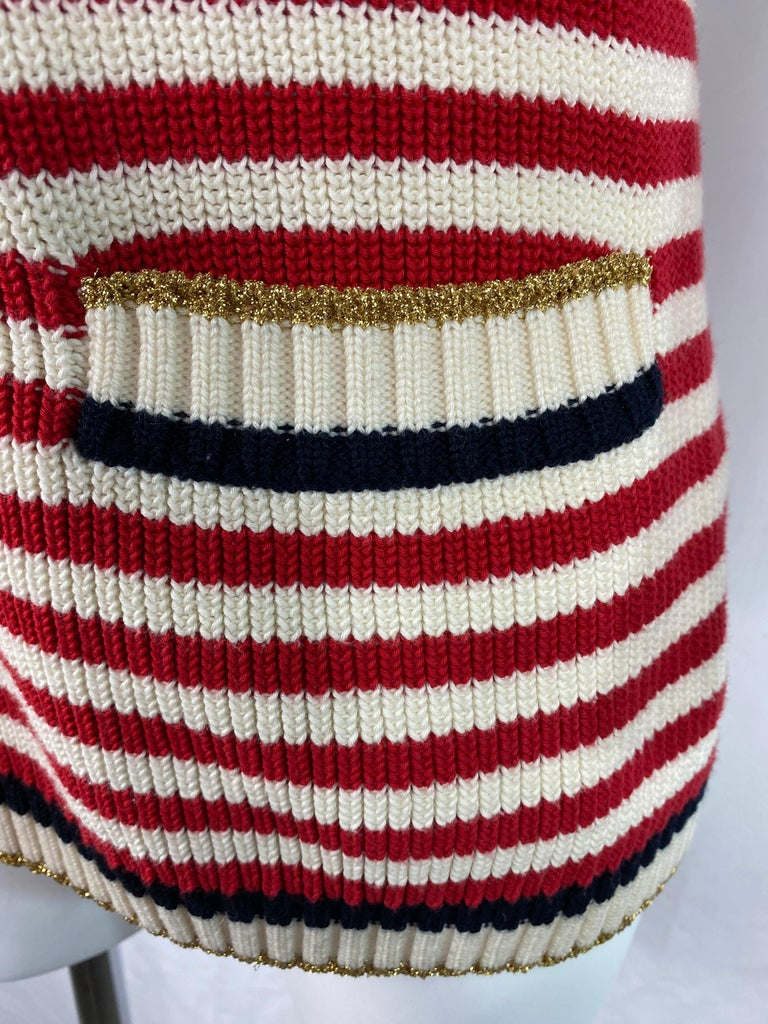 Brown Gucci Red and White Wool Knit Sweater Top For Sale