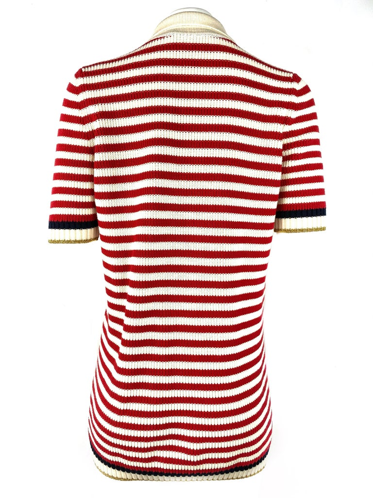 Gucci Red and White Wool Knit Sweater Top For Sale 1