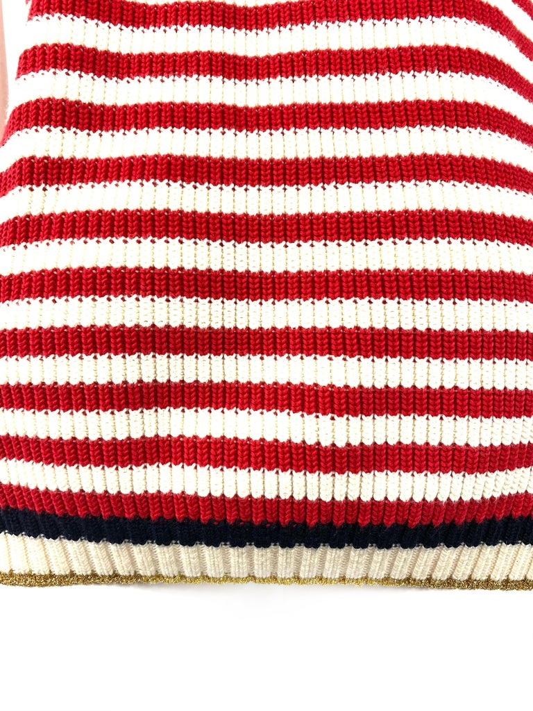 Gucci Red and White Wool Knit Sweater Top For Sale 2