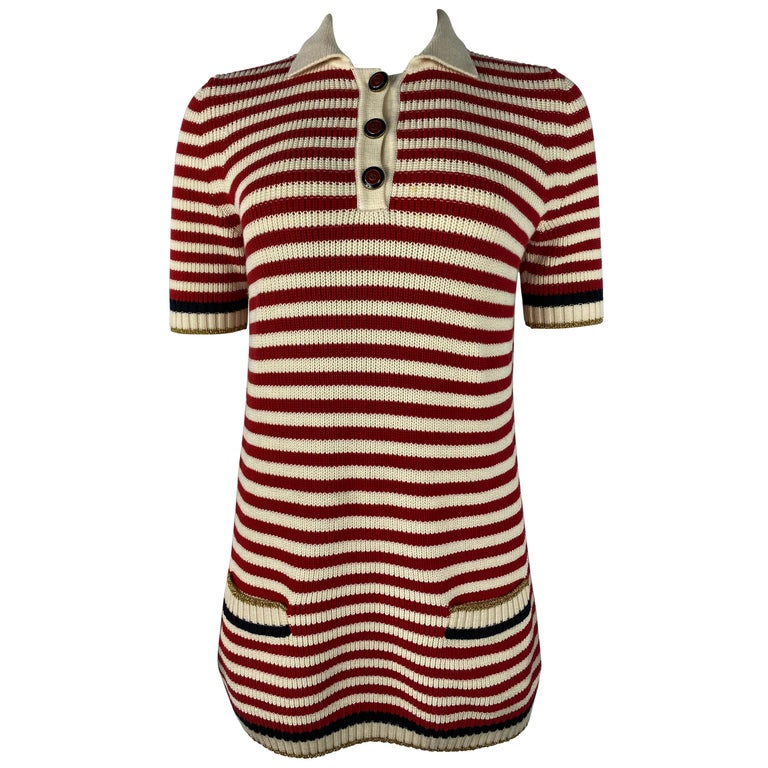 Gucci Red and White Wool Knit Sweater Top For Sale