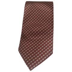 Gucci red beige vintage silk tie