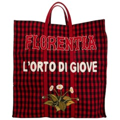 GUCCI red & black Gingham wool FLORENTIA Tote Bag