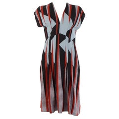 GUCCI red blue black silk GRAPHIC Sleeveless EMPIRE Dress 42