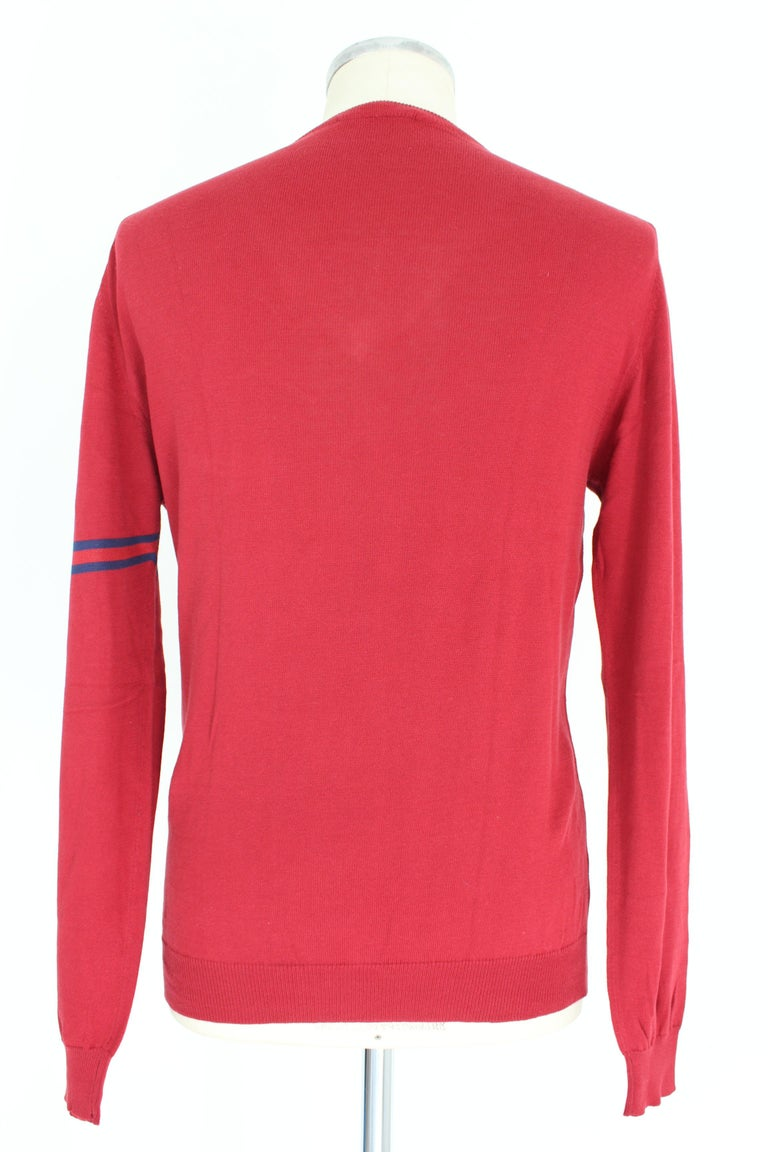 Gucci Red Blue Cotton V Neck Classic Sweater In Excellent Condition For Sale In Brindisi, Bt