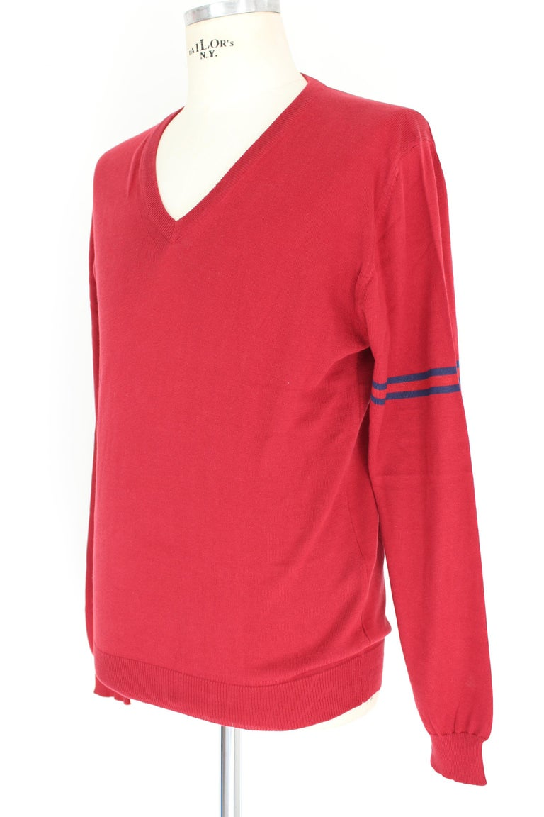 Gucci Red Blue Cotton V Neck Classic Sweater For Sale 1