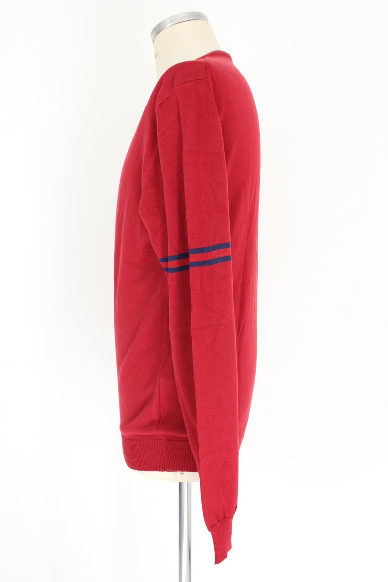 Gucci Red Blue Cotton V Neck Classic Sweater For Sale 2