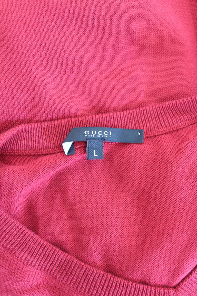 Gucci Red Blue Cotton V Neck Classic Sweater For Sale 3
