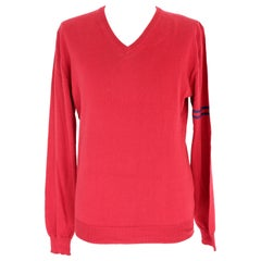 Gucci Red Blue Cotton V Neck Classic Sweater