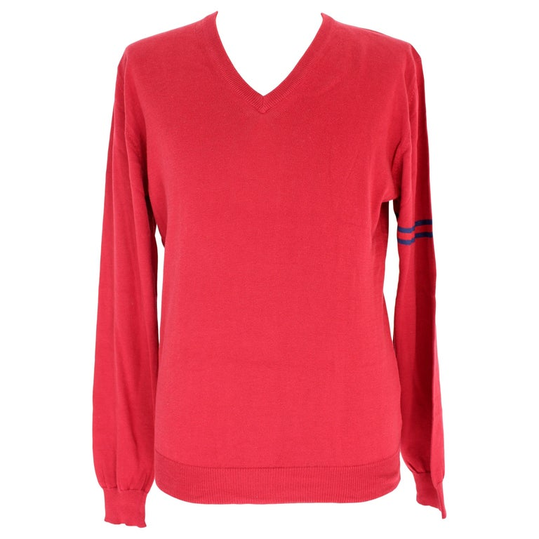 Gucci Red Blue Cotton V Neck Classic Sweater For Sale