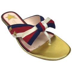 Gucci Red, Blue, & Ivory Thong Sandal-38