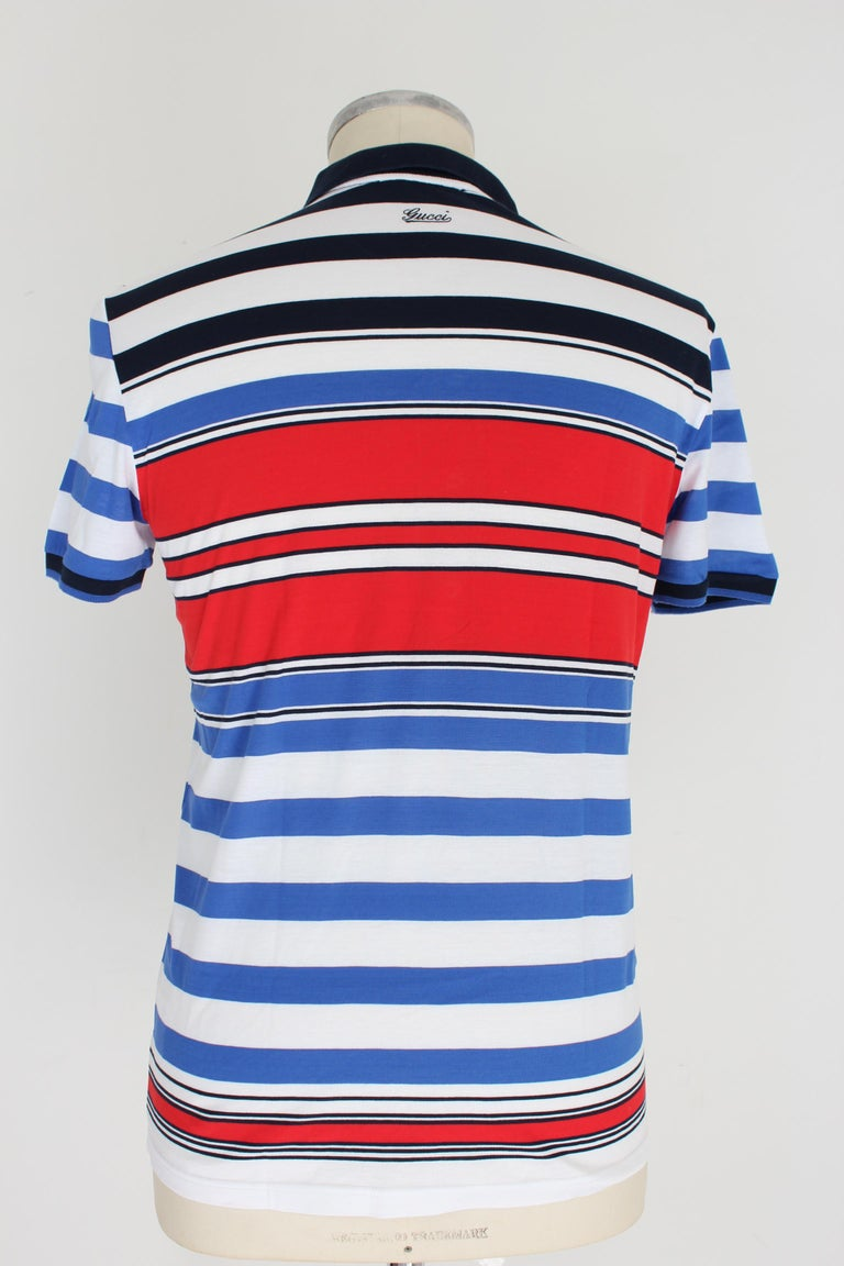 Gucci 2000s men's shirt. Short sleeved polo shirt, skinny model, striped. White, blue and red color, 100% cotton. Made in Italy. Excellent vintage condition.  Size: L / 48 It 38 Us 38 Uk  Shoulder: 48 cm Bust / Chest: 50 cm Sleeve: 18 cm Length: 67