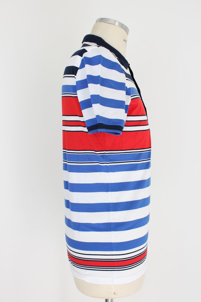 Gucci Red Blue White Cotton Pinstrip Polo Shirt In Excellent Condition For Sale In Brindisi, Bt