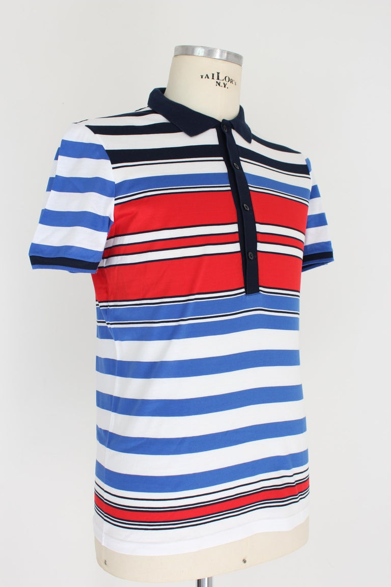 Men's Gucci Red Blue White Cotton Pinstrip Polo Shirt For Sale