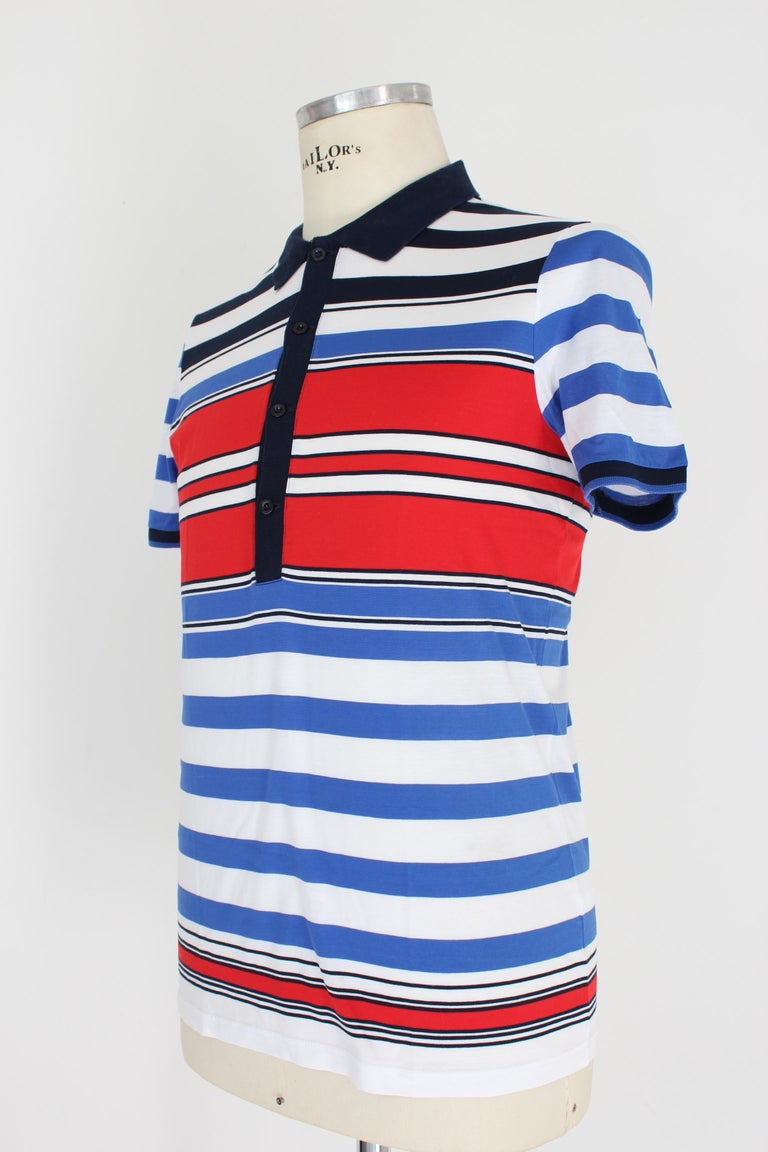 Gucci Red Blue White Cotton Pinstrip Polo Shirt For Sale 1