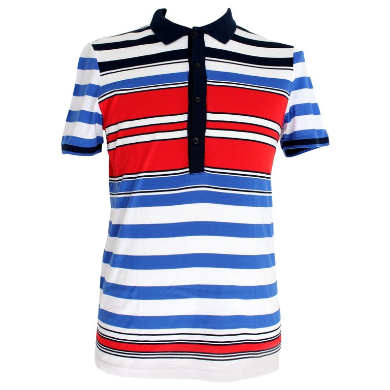 Gucci Red Blue White Cotton Pinstrip Polo Shirt For Sale