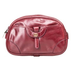 Gucci Red Bordeaux Leather Vintage Clutch Bag Italy