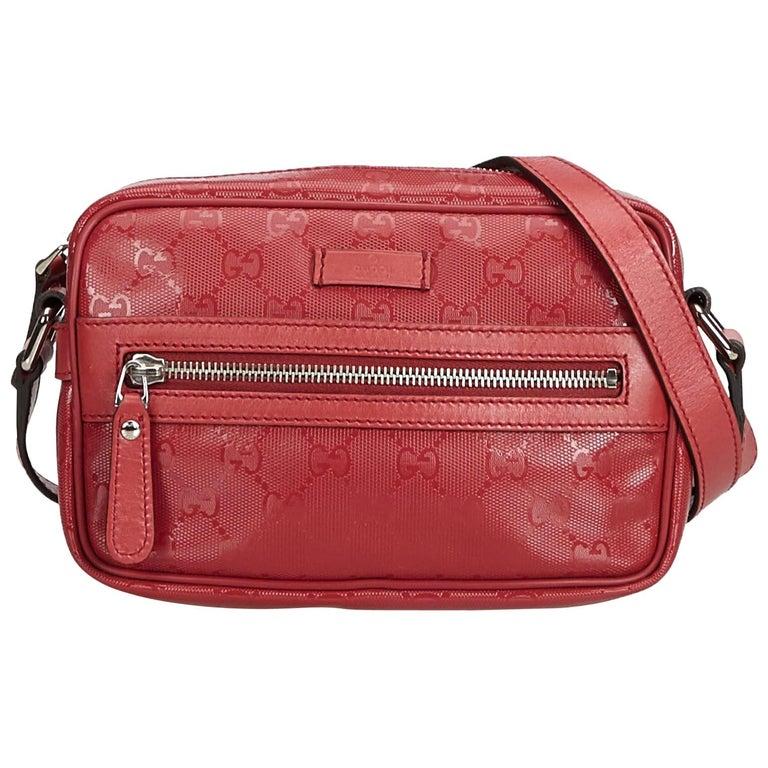 d561b088104cbb Gucci Red Bordeaux PVC Plastic Guccissima Crossbody Bag Italy at 1stdibs