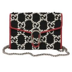 Gucci Red Calfskin & Black, White GG Tweed Dionysus Wallet-on-Chain
