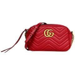 Gucci  Red Calfskin Leather Matelasse Small GG Marmont Camera Crossbody Bag