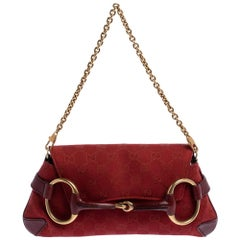 Gucci Red Canvas and Leather Horsebit Shoulder Bag