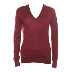 Gucci Red Cashmere V-Neck Sweater S